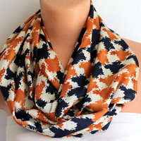 Infinity Scarf Loop Scarf Circle Scarf Cowl Scarf Soft and Lightweight Navy Blue Brick Color
