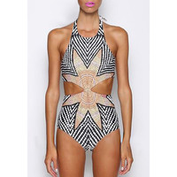 Halter Cut Out One-Piece Swimwear
