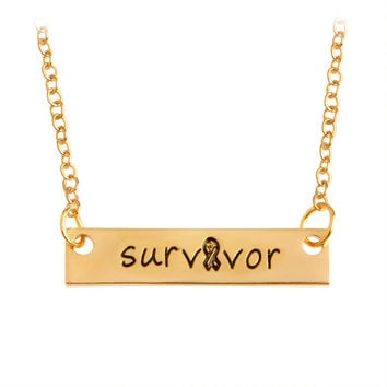 Survivor Bar Long Necklace & Pendants For Women Men Ribbon Gold Silver Letters Chain Charm Simple Fashion Jewelry New Year Gift