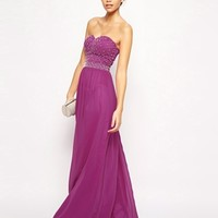 Chi Chi London Bandeau Maxi Dress with Beaded Bodice