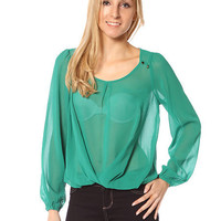 Papaya Clothing Online :: SEE-THROUGH ROUND NECK CHIFFON TOP