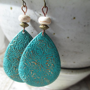 White Turquoise Earrings Patina Earrings Boho Earrings Drop Earrings Dangle Earrings Jewelry Etched Lightweight earrings