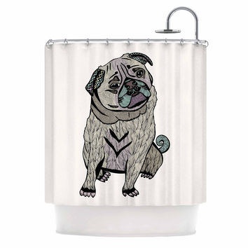 "Pom Graphic Design ""Ares The Pug"" Black Multicolor Shower Curtain"