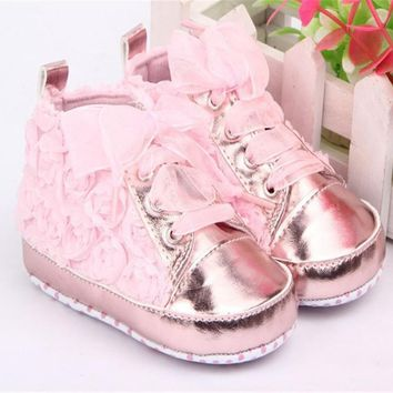 Baby Shoes Girls Toddler Soft Sole with Rose Flowers Children Shoes Kids Infant Lace Cute Shoes