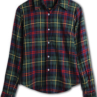 'The Jailynn' Slim Plaid Long Sleeve Turn down Collar Blouse