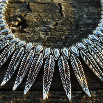 Silver feather tribal necklace
