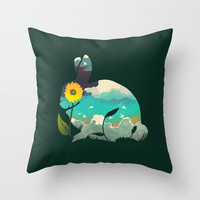 Rabbit Sky - (Forest Green) Throw Pillow by Amelia Senville