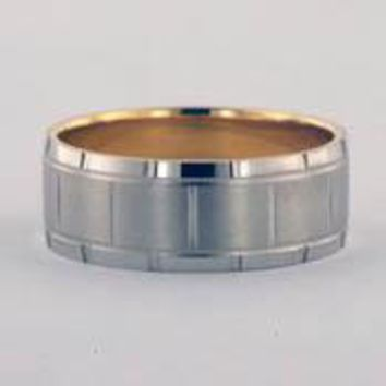 Two-Tone Carved Brushed Wedding Band