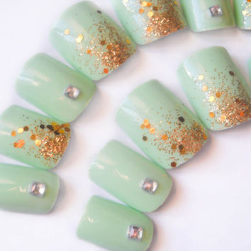 Mint Coloured Fake Nails, Pastel Green and Gold Glitter, 3D Nail Art, Silver Rhinestone Press on Nails, False Nails, Acrylic Nails