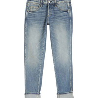 AMO Tomboy Boyfriend Jeans - Cropped Faded Boyfriend Jeans