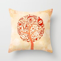 Watercolor music tree Throw Pillow by Hedehede