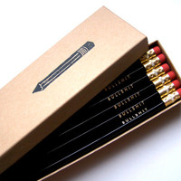 6 PENCILS - black bullsh.t GRAPHITE hex funny back to school pencil set with gold text and a hand-stamped pencil box