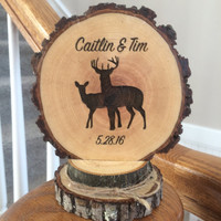 Rustic Deer Wedding Cake Topper, Wood Slice Topper, Custom Cake Topper, Engraved Cake Topper, Country Cake Topper