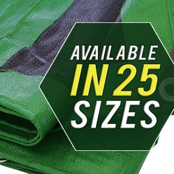 Tarp Cover 12X20 Green/Black Heavy Duty Thick Material, Waterproof, Great for Tarpaulin Canopy Tent, Boat, RV or Pool Cover!!!