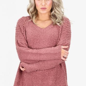 Fuzzy Knit V-neck Sweater {Mauve}