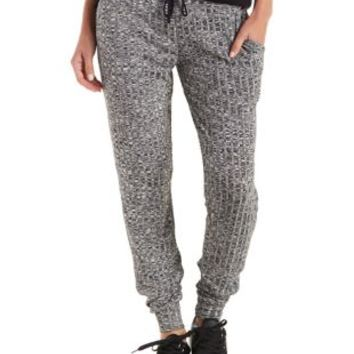 Black Ribbed & Marled Sweater Knit Jogger Pants by Charlotte Russe