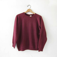 vintage thin maroon sweatshirt. slouchy sweater. crew neck pullover.