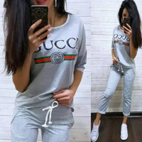 GUCCI Women Print Shorts Sleeve Top Pants Trousers Set Two-Piece