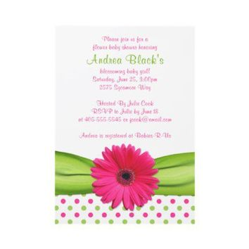 Pink and Green Polka Dots Baby Shower Invitation from Zazzle.com
