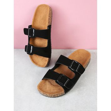 Cork Footbed Double Buckle Flatform Sandal BLACK