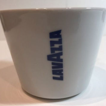 Lavazza Ceramic Coffee Cup White Blue Americano 8oz Logo IPA Italy 8oz Set of 4