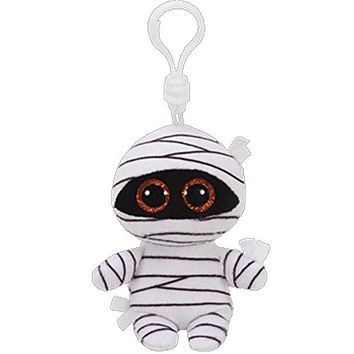 """Pyoopeo Ty Beanie Boos 4"""" 10cm MUMMY the White Mummy Clip Keychain Plush Stuffed Animal Collectible Doll Toy"""