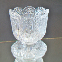 Avon Scalloped Cut Glass Dish Candy Candle Vase Collectible Home Decor
