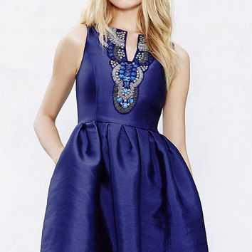 Heart Skips a Bead Royal Blue Skater Dress