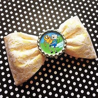 Adventure Time yellow white lace handmade fabric hair bow from Bowlicious Divas Bowtique