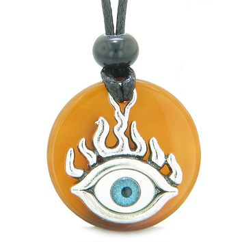 Cool Evil Eye Protection Flames Amulet Carnelian Medallion Magic Powers Adjustable Necklace