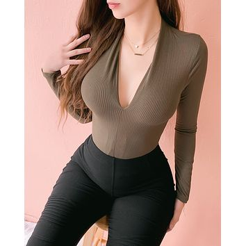 BAD INTENTIONS RIBBED TOP (OLIVE)