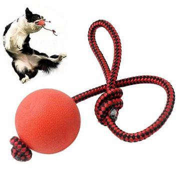Solid Rubber Dog Chew Training Ball Toys Tooth Cleaning Chew Ball Puppy Pet Play Training Chewing Toy With Rope Handle