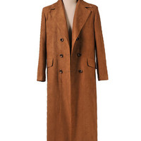 Doctor Who 11th Doc. Long Brown Suede Coat custom-made