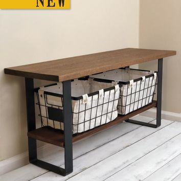 Batsto No. 47 - Solid Mahogany Entryway Bench with Steel Legs, Storage Shelf and Baskets