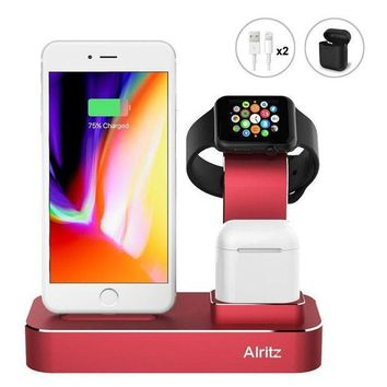 ICIK4S2 Apple Watch Charging Stand, Alritz 3 in 1 Aluminum Desktop Charging Station, Charger Dock Holder for Apple iPhone X / 8 / 8 Plus / 7 / 7 Plus, Apple Watch Series 1/2/3, AirPods (Red)