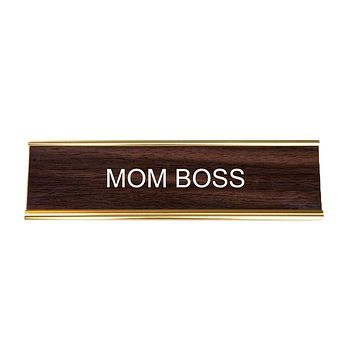 Mom Boss Office Nameplate in Woodtone and Gold