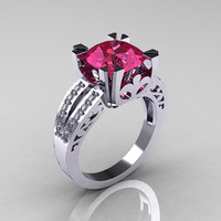 Modern Vintage 14K White Gold 3.0 Carat Tourmaline Diamond Solitaire Ring and Wedding Band Bridal Set R102S-14KWGDT