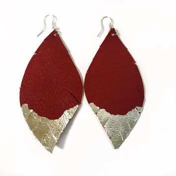 Three Little Indians Earrings - Large Red | Silver Leaf