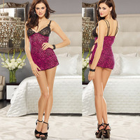 On Sale Cute Hot Deal Sexy Lace Leopard Spaghetti Strap Exotic Lingerie [6595579779]