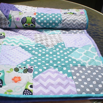 Modern Baby quilt,patchwork crib quilt,baby boy or girl bedding,woodland,rustic,teal,grey,purple,owls,chevrons,dot,Catch a falling star Owls