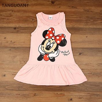 TANGUOANT New 2017 Kids girls clothes cute cartoon Dress, 2 colors of red and pink nice Clothes, lovely baby girls dress