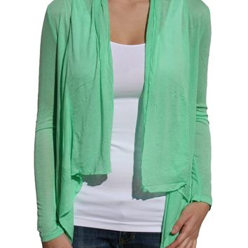 Active Long Sleeve Lightweight Flyaway Cardigan-solid Mint-9677 Medium