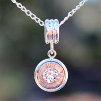 Clear Crystal 9mm Luger Bullet Necklace