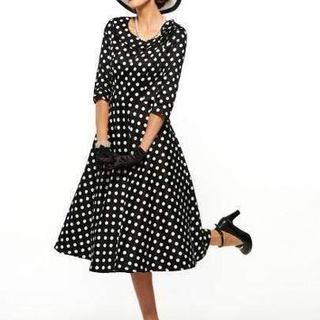 polka dots o neck vintage womens maxi dress plus size available