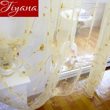 Gold Curtains Floral Sheer Voile European Window Modern Living Room Bedroom Curtians Tulle Purple Cortinas Rideaux T&256 #20