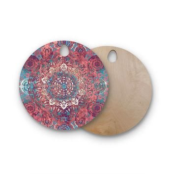 "Nina May ""Magi Mandala Rose Gold"" Coral Teal Abstract Ethnic Mixed Media Painting Round Wooden Cutting Board"