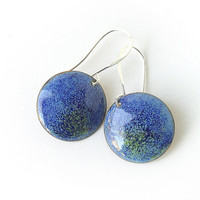 Enamel earrings blue aqua dangle drop round autumn fall fashion by Alery