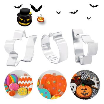 Stainless Steel Cake Stencils 3pcs Halloween Scenario Pumpkin Cats Shape Cookie Cutters Set Soap Chocolate Mold Tools for Baking