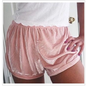Summer Multiple Colour Women Soft Velvet Shorts Sexy Flannel Fashion Hipster Fit Elastic Waist Outwear