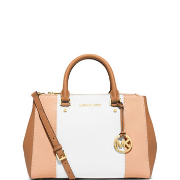 Sutton Tri-Tone Medium Saffiano Leather Satchel Bag, Nude/White/Peanut - MICHAEL Michael Kors